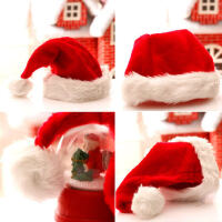 圣诞老人帽童长毛绒帽子成人圣诞帽儿短头饰圣诞节活动派对装饰