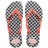 havaianas女款时尚细带人字拖Slim Retro平底格纹哈瓦那拖鞋黑白色3660