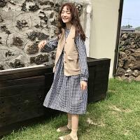春装新款韩版马甲背心上衣+宽松显瘦长袖中长款格子连衣裙女学生