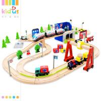 木质轨道电动高铁小火车头托马斯木质轨道车套装组3-6岁玩具 送手推小汽车+电池+螺丝刀