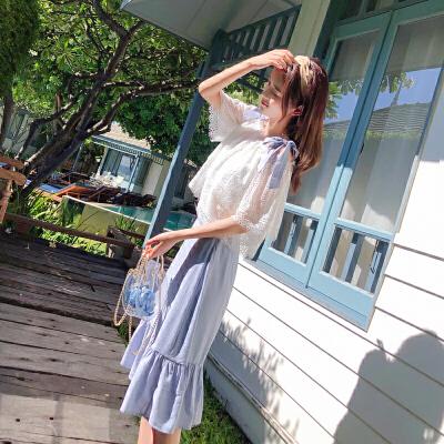 谜秀两件套连衣裙女2018夏装吊带蕾丝上衣中长款鱼尾裙网红套装潮
