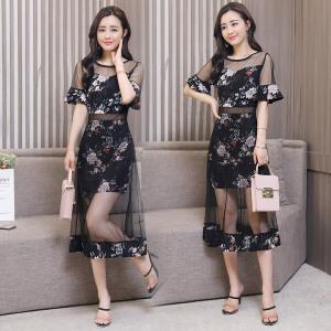 2018夏季新款连衣裙女装韩版时尚性感中长款碎花短袖印花网纱裙潮