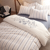 全棉纯棉床单被套床上四件套北欧加厚磨毛三4件套2m双人被子用品 米白色 蝴蝶蓝上磨毛加厚