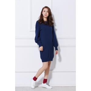 2018春装新款气质针织宽松显瘦长袖连衣裙百搭潮韩版高腰女装