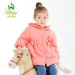 迪士尼Disney童装秋冬夹棉外套女童保暖连帽棉服宝宝带帽休闲衣服154S736