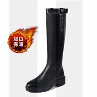 2018秋冬季新款英���L�L筒靴女�R丁靴�T士靴女中高筒靴皮�L靴SN4747 黑色 加�q