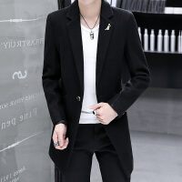 2018新款春秋季韩式呢绒风衣男中长款尼龙大衣韩版修身学生中款毛呢外套潮