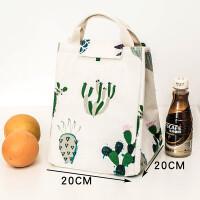 饭盒袋保温袋手提袋包拎包袋保温帆布便当袋包大号码学生午餐盒包防水 乳白色 仙人掌