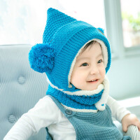 韩版婴儿帽子加绒宝宝帽子0-3-6-12个月秋冬季男女宝宝护耳帽冬天