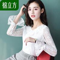 棉立方绣花雪纺衫女长袖气质上衣2019春季女装超仙甜美喇叭袖T恤