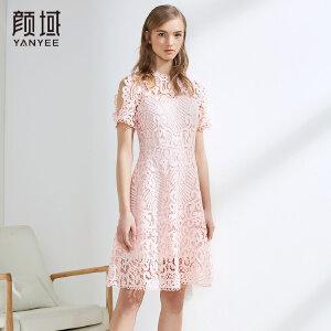 颜域钩花镂空粉色蕾丝连衣裙花边露肩收腰减龄2018夏季新款裙子女