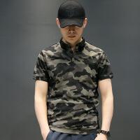 男士短袖t恤2018新款迷彩polo衫棉T韩版修身翻领个性男装半袖潮流