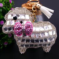 高档镶钻生肖羊钥匙扣水钻创意小羊狐狸毛球汽车钥匙链包包挂件