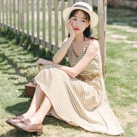 2018夏季无袖学院风小清新长裙女 文艺复古格子吊带连衣裙
