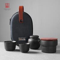 家用办公室简约泡茶壶套装 陶瓷功夫茶具便携包旅行快客杯一壶二杯