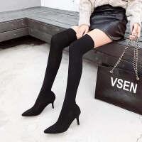 连袜靴女过膝女士秋冬2018新款鞋女高跟弹力袜靴过膝长筒靴针织连袜粗跟高筒靴 TBP