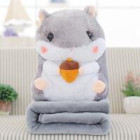 可爱仓鼠抱枕被子两用汽车午睡靠垫毯子暖手靠枕办公室空调被枕头 抱松子
