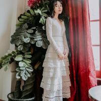 №【2019新款】2019春季性感V领蕾丝长袖白色蛋糕裙礼服裙复古仙女度假沙滩长裙 白色送白色抹胸