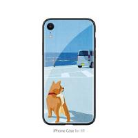 海边小柴犬的背影苹果6plus手机壳xr可爱卡通7plus简约iphone8玻璃x个性创意8p全包边 Xr 海边小黄狗