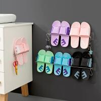免打孔浴室拖鞋架 墙壁挂式放鞋子挂架卫生间免钉不锈钢鞋架