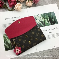 钱包女长款新款时尚折叠软皮夹复古欧美拉链零钱袋小花手拿包