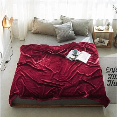 冬季毛毯纯色简约午睡毯空调毯法兰绒珊瑚绒毛毯绒毯盖毯儿童毯子   柔软的法莱绒 冬季保暖