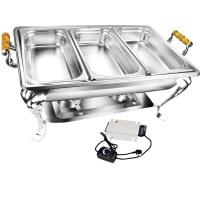 酒店不锈钢自助餐炉餐具自助餐保温炉可加电热长方形早餐炉布菲炉 D套装3 自助餐炉+三格食物盆+发热盘