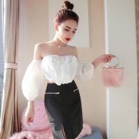 春夏新款时尚名媛性感露肩泡泡袖上衣+修身包臀半身裙套装女