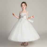 儿童晚礼服白色婚纱公主裙女童连衣裙子中大童演出服粉长裙170码