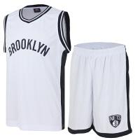 潮流新款时尚篮球衣服队训练队服约翰逊加内特印花版透气背心篮球 布鲁克 白色 白色