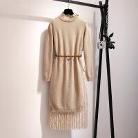 连衣裙秋冬2019春季新款女装复古气质两件套法国小众针织打底长裙