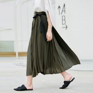 【到手价204.9元】Amii极简心机优雅飘逸百褶半身裙2019夏季新款撞色绑带雪纺半裙