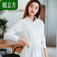 春装衬衫女长袖白色收腰韩版2019年新款棉立方时尚小清新职业上衣