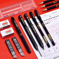 得力2B铅笔考试涂答题卡专用笔芯高考小学生儿童写字填涂比电脑自动涂卡笔粗芯美术素描笔橡皮擦文具套装组合
