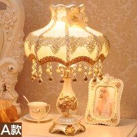 欧式台灯卧室床头灯创意温馨公主田园布艺结婚庆装饰调光遥控台灯ko5