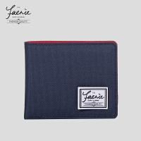 欧美潮牌钱包帆布钱包男女横短款休闲两折布钱包相片位卡位零钱包