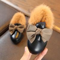 2018秋冬新款韩版儿童软皮公主女童二棉鞋加绒宝宝毛毛球豆豆冬鞋