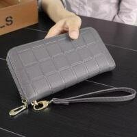 秋菱格女士钱包韩版长款拉链包压花男式手拿包手机包皮夹 灰色