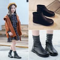 童鞋女童马丁靴子2018秋冬新款韩版黑色皮鞋女孩公主儿童雪地短靴