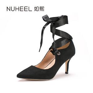 如熙2017年新品女士单鞋 优雅绑带 细跟女士时尚女鞋