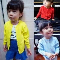 春秋季男女童红色纯棉薄款毛衣针织衫黑色长袖开衫空调衫