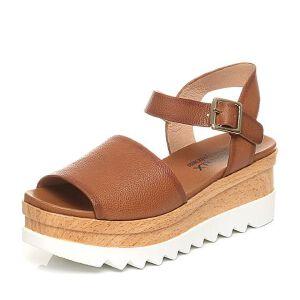 Teenmix/天美意夏专柜同款牛皮松糕厚底女凉鞋6L707BL7