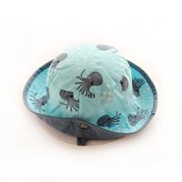 婴儿帽子夏天遮阳太阳帽儿童渔夫帽宝宝帽户外男童孩凉帽盆帽萌帽56 略有色差 均码 帽围46┆约6~9个月