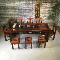 zuczug老船木茶桌椅组合 中式实木家具功夫茶几泡茶桌 阳台小户型茶艺桌 整装