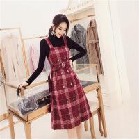 韩衣女王小香风格子背带裙女2019春装针织打底两件套套装裙新款 红色
