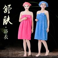斜月三星 珊瑚绒浴裙可裹式抹胸性感百变家用珊瑚绒吸水大浴巾