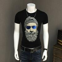 男士短袖T恤2018新款夏季男装半袖体恤大码圆领半截袖韩版修身潮 黑色 M