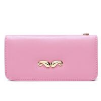 皮夹子胡子钱包女长款女士手包拉链手拿包女零钱位女式钱包韩版潮 粉红色