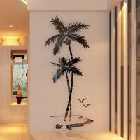 亚克力3d立体墙贴家装饰品客厅卧室餐厅玄关背景墙椰树壁纸贴画