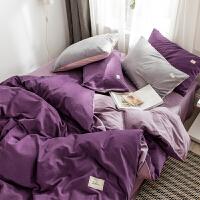 全棉纯色双拼磨毛四件套纯棉加厚保暖被套简约素色床单床上用品冬